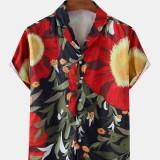 Mens Tropical Plant Print Short Sleeve Lapel Collar Hawaii Casual Shirts