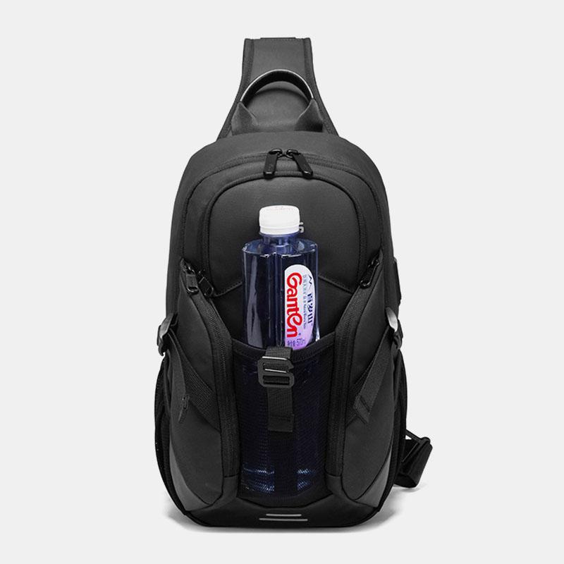 Men Oxford Anti-theft USB Charging Multi-pocket Waterproof Outdoor Crossbody Bag Chest Bag Sling Bag