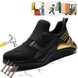 Mens Safety Shoes Steel Toe Boots Anti-slip Elastic Breathable Sneakers Outdoor Jogging Running Shoes