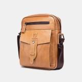 Bullcaptain Men Genuine Leather Multi-pocket Anti-theft Crossbody Bag Shoulder Bag