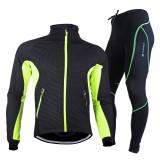 NUCKILY Men's Cycling Clothing Thermal Fleece Bike Jacket Set Waterproof Windproof Warm Sport Shirt Coat Cycling Tights Set