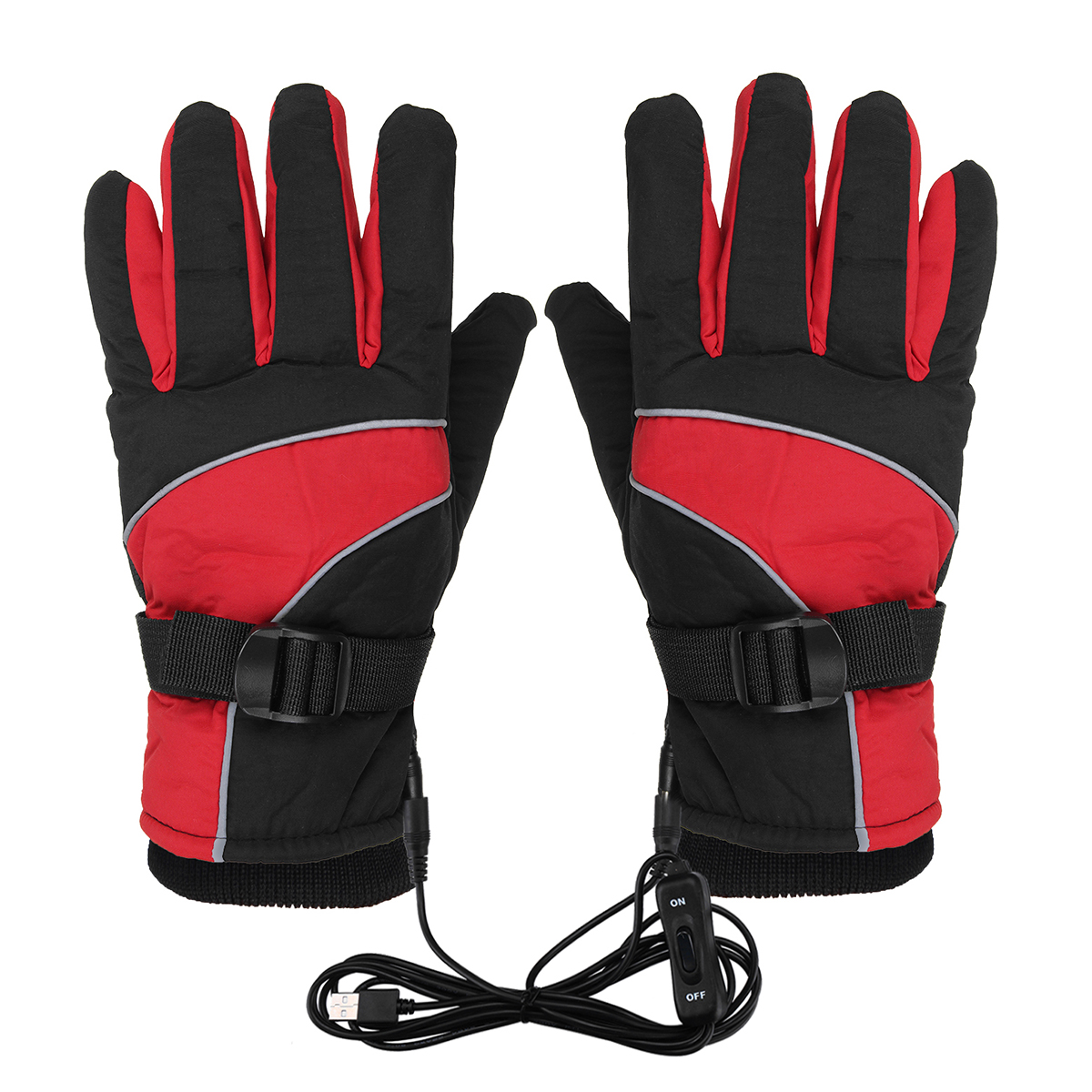 12V Winter Warm Electric Heated Gloves Touch Screen USB Charging Motorcycle Waterproof Gloves Skiing Windproof Gloves