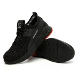 Men Knitted Fabric Steel Toe Cap Anti Smashing Soft Sole Work Safety Sneakers