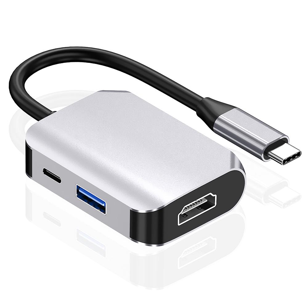 HAOWEI 3 in 1 Type-c Hub USB-c Adapter Converter Type-c to HDMI USB3.0 Type-c MultiFunctional Expansion Dock Splitter HW-6003