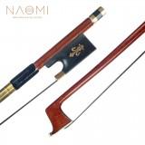 NAOMI Violin Bow 4/4 Size Brazilwood Stick Lizard Skin Grip Black Mongolia Horsehair W/ Ebony Frog Well Balanced