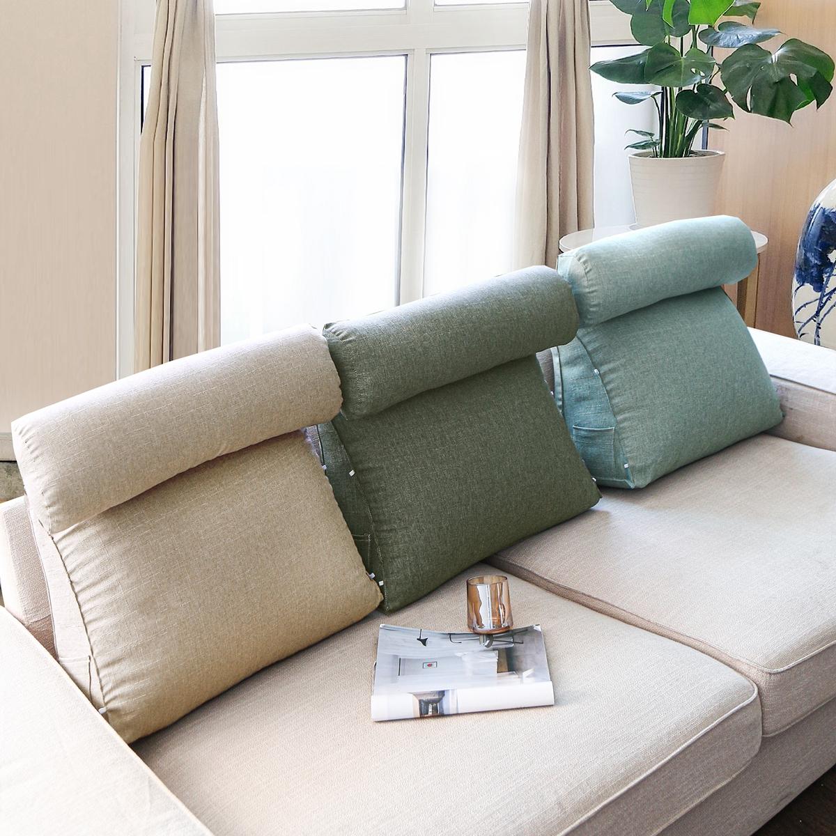 Back Wedge Cushion Adjustable Slub Triangle Soft Support Pillow 45x45x20CM
