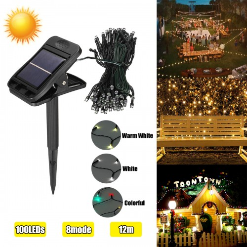 12M 8 Mode Solar Powered 100LED String Light Waterproof Copper Wire Fairy Outdoor Garden Clip Yard Lawn Lamp