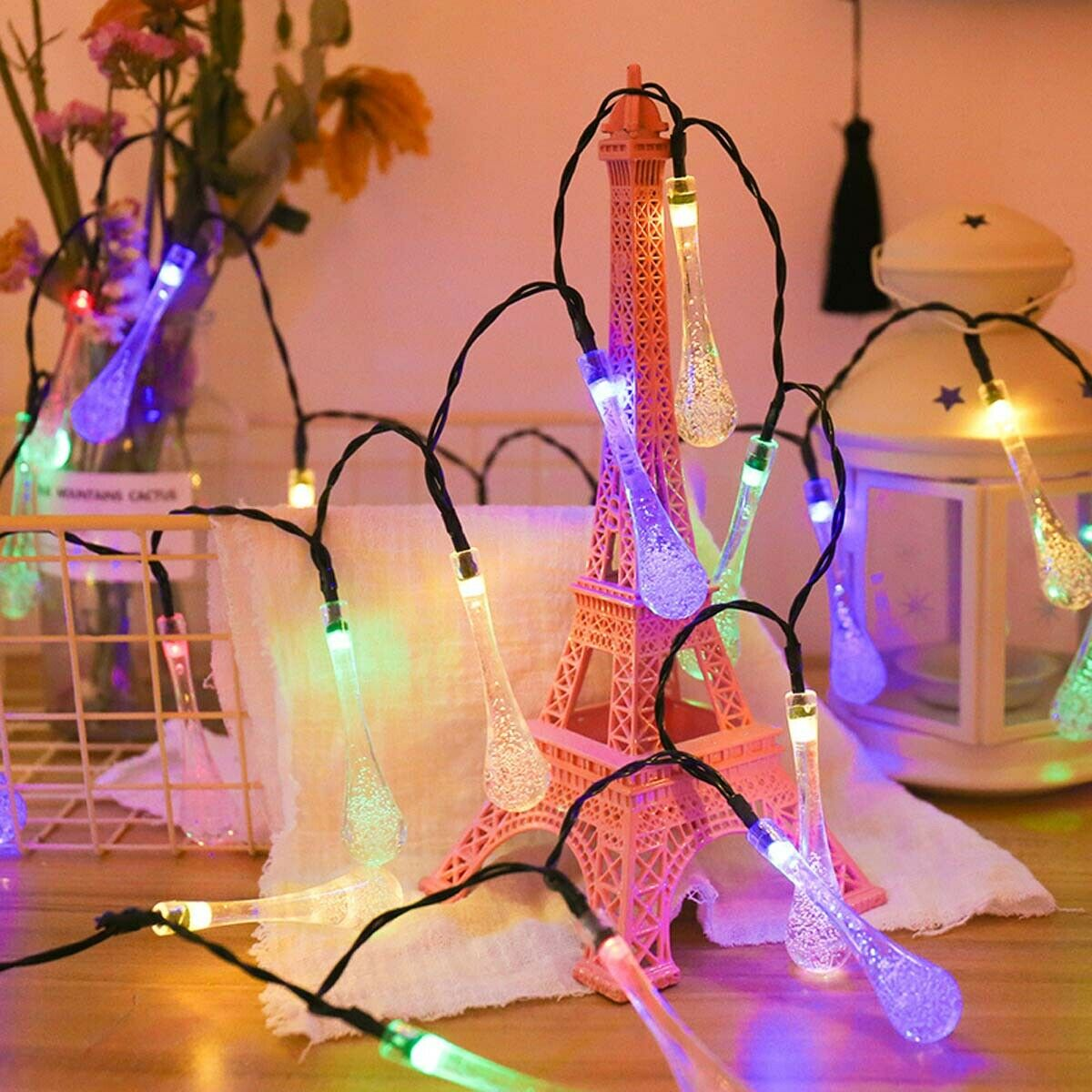 6.5M 30LED Solar Water Drop String Lights Wide Angle LED Raindrop Teardrop Outdoor Fairy String Lights for Tree,Garden,Home,Wedding,Party,Patio,Holiday Decor (Multicolor/Warm White/White)