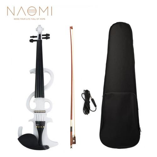 NAOMI Electric Violin 4/4 Electric Silent Violin Full Size Violin Ebony Fretboard with Bag