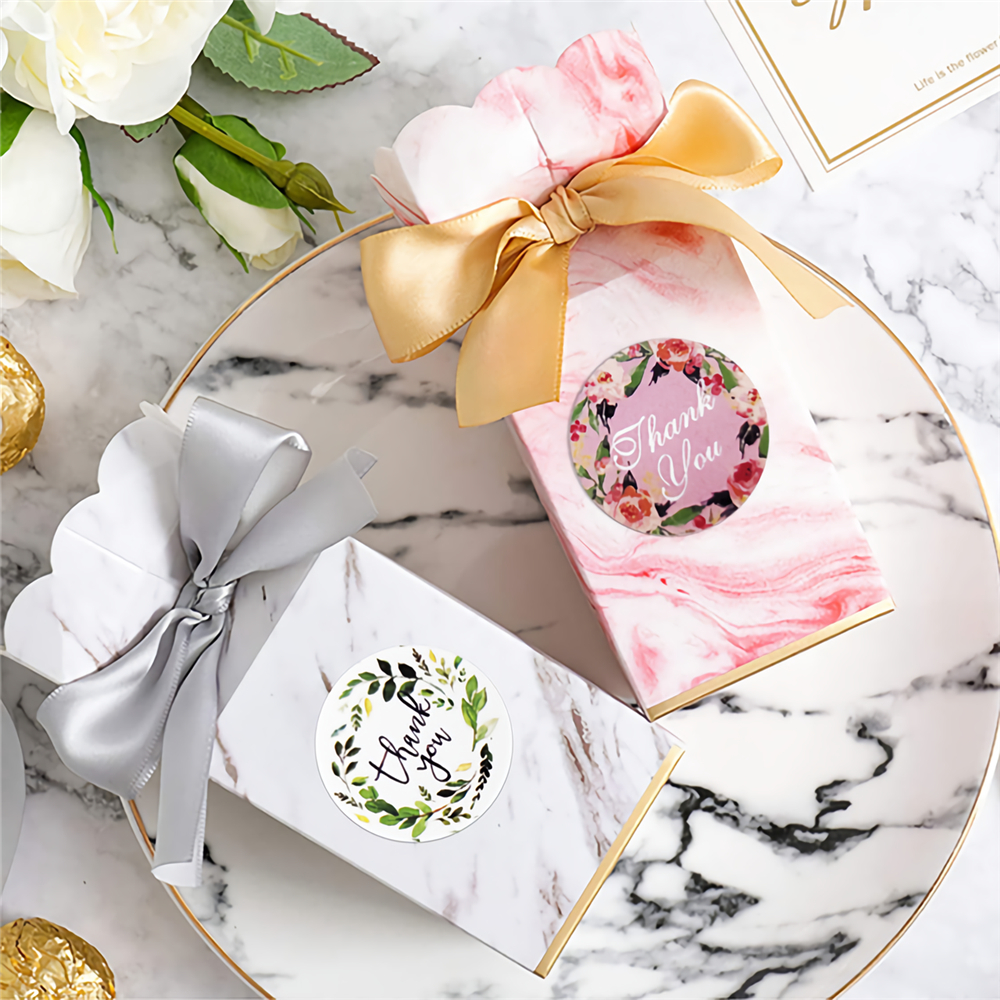 500pcs/lot Round Floral Thank You Stickers Seal Labels for Wedding Favors Party Handmade Stickers Envelope Stationery Sticker