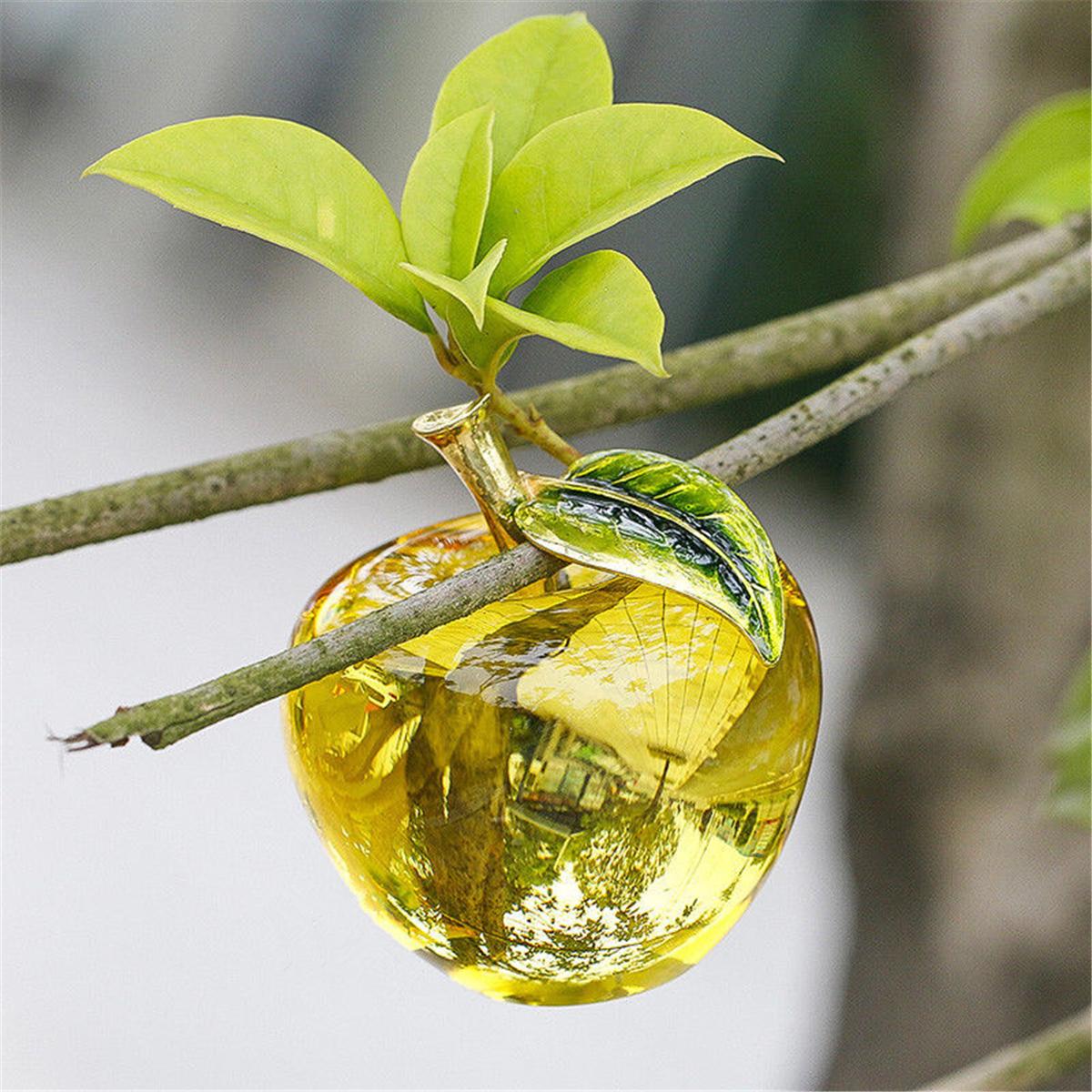 3D Glaze Crystal Apple Figurine Glass Paperweight Wedding Favor Decor 60mm/50mm