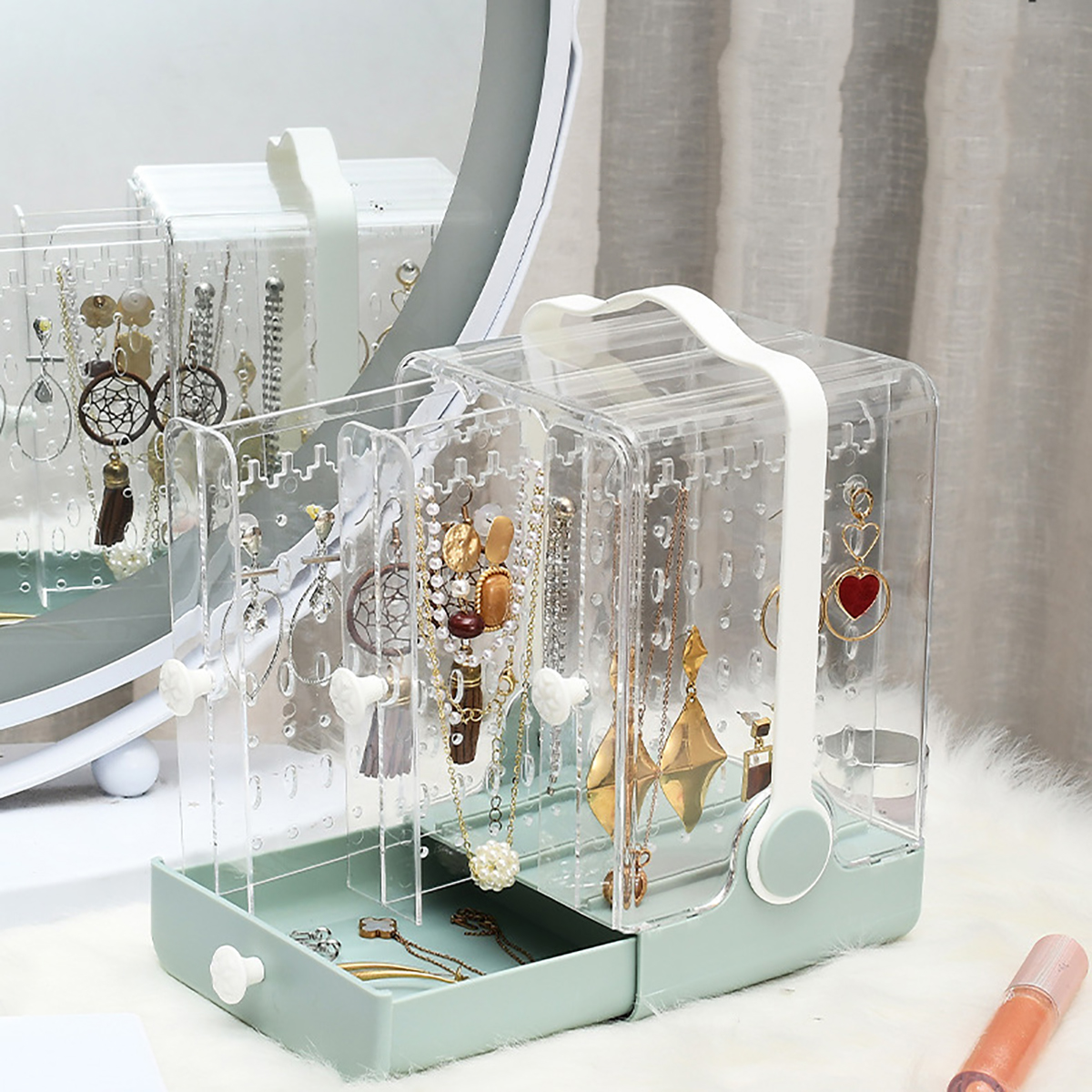 Storage Case Multi-Function Desktop Sundry Makeup Organizer Cosmetics Drawer Storage Box Container Bracelet Holder