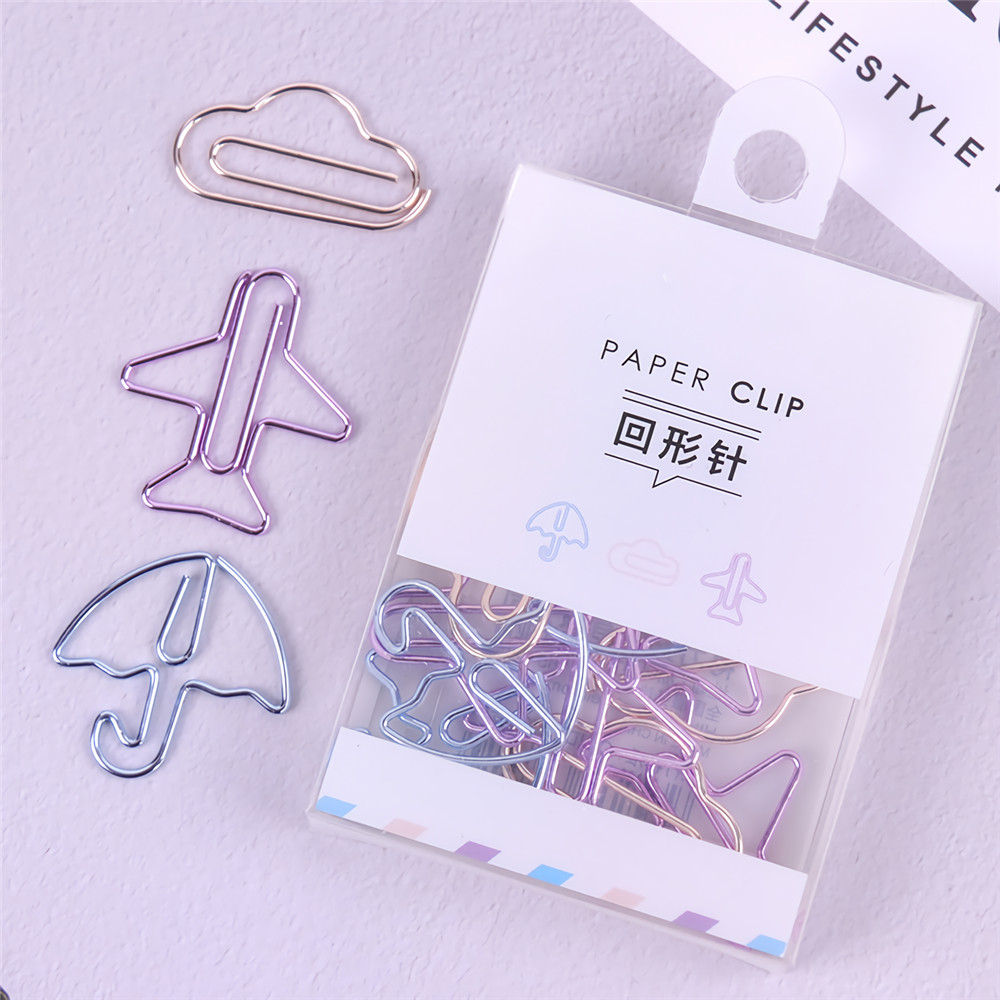 Deli 0055 12PCS Paper Clips Special Shape Notes Smooth Paper Clips DIY Bookmark Stationery Student Metal Binder Clips Notes Letter Paper Clips