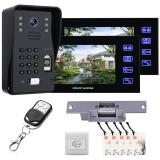 ENNIO SY816MJLENO12 2 Monitors 7inch Fingerprint RFID Password Video Door Phone Intercom Doorbell System Kit With NO Electric Strikes Lock+ Wireless Remote Control Unlock