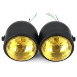 Black Twin Headlight Motorcycle Double Dual Lamp Street Fighter Dual Headlight