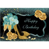 Green Gold Happy Birthday Backdrop Cloth High Heels Glasses Photography Background Glitter Banner For Party Decoration
