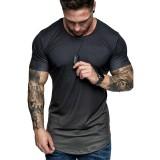 Summer Fashion Printing Men Gradient Color Short Sleeve Round Neck T-Shirt Slim Fit Top