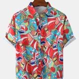 Mens Cartoon Soda Can Print Lapel Collar Funny Short Sleeve Shirts