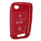 Car Key Cover Silicone TPU Protective Case With Belt Buckle Suitable For Volkswagen/Golf/Jetta/Skoda