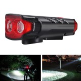XANES 5-Modes 2*T6 LED Solar Bicycle Headlights 6-Horns Sounds Waterproof Bike Light For Mountain Bike Night Ridingf Cycling