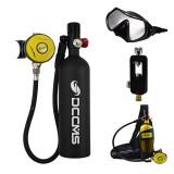 DCCMS 6PCS/Set Black 1L Portable Scuba Diving Oxygen Tank W Converter+Diving Glasses Diving Oxygen Tank Equipment