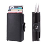 RFID Blocking Card Holder Protection ID Credit Wallet Antitheft Leather Aluminum Business Bank Card Case Gifts Supplies