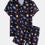 Mens Cartoon Galaxy Print Lapel Collar Short Sleeve Drawstring Casual Shirts Shorts