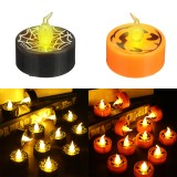 12Pcs LED Tea Lights Battery Operated Flickering Flameless Candles Halloween Pumpkin