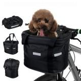 34x24x8CM Foldable Bicycle Front Basket With Zipper Bike Handlebar Basket Pet Cat Carrier MTB Frame Bag