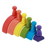 Rainbow Arched Building Block Combination Wooden Children's Educational Colorful Semicircle Building Block For Children Toy Gift