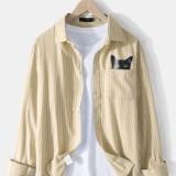 Mens Cotton Linen Pinstripe Cat Print Casual Chest Pocket Long Sleeve Shirts