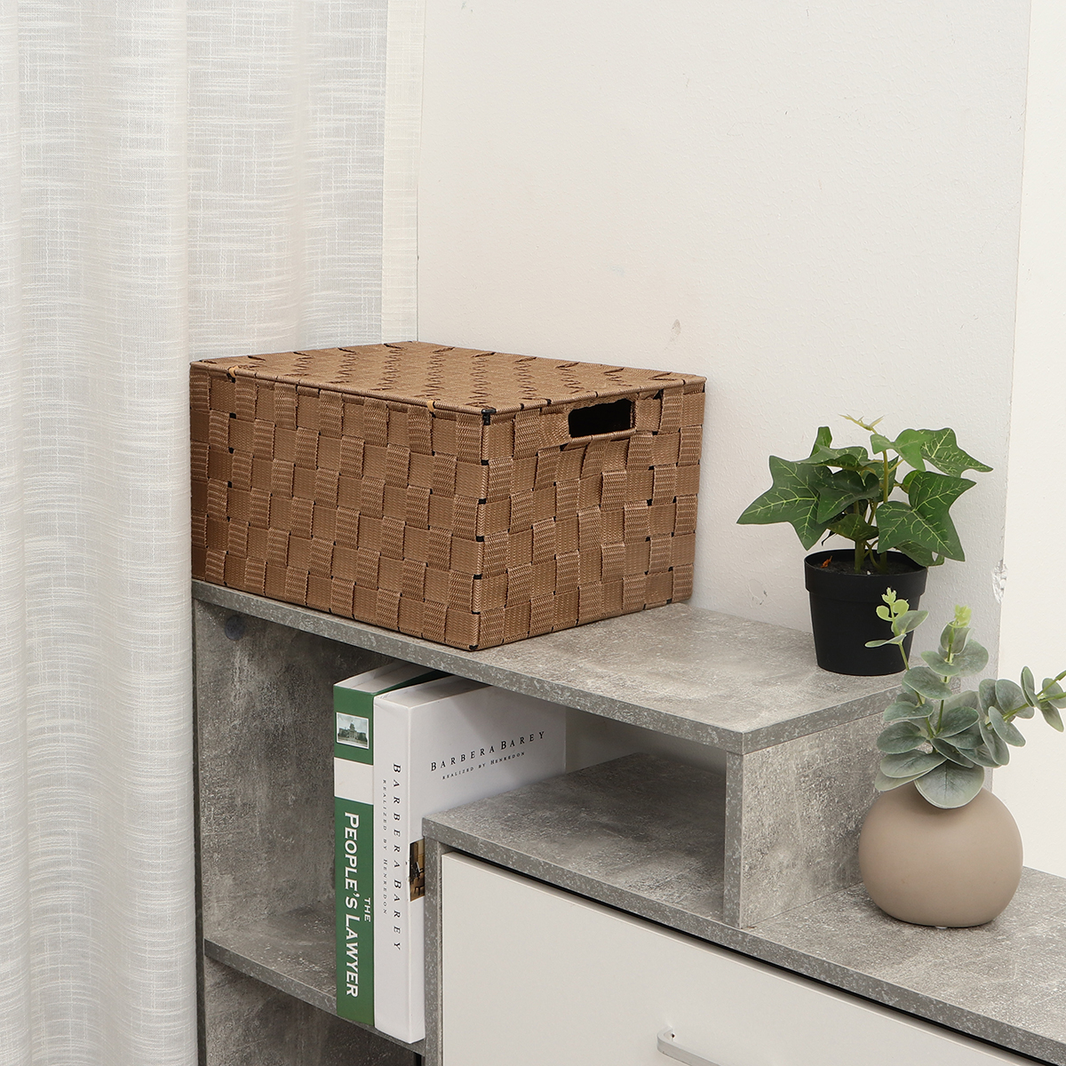 Woven Storage Box Covered Storage Basket Sorting Box for Clothes Snacks Storage Case Organizer for Office Home