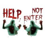 2pcs/set Halloween Horror Zombie Sticker Poster Bloody Handprint Window Wall Stickers Halloween Party Decoration
