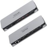 QGeeM 14 In 1 Quadruple Display USB-C Hub Docking Station Adapter with Dual 4K@60HZ HDMI Display / Dual 4K@60HZ DP Display / 1000M RJ45 Ethernet Network Port / 3.5mm Audio Jack / 3 * USB 3.1 / 85W USB-C PD / Memory Card Readers / DC 12V