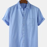 Mens Pinstripe Cotton Breathable Casual Short Sleeve Shirts With Pocket