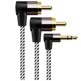 Bakeey 90 Degree 3.5MM to RCA Stereo Audio Splitter Cbale 2RCA Male to 3.5MM Male AUX Cable For DJ Amplifiers