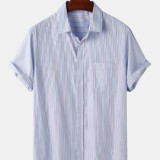 Mens Pinstripe Light Casual Short Sleeve Shirts With Pocket