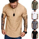 Summer Solid Color Leather Label Design Round Neck Men's Short-sleeved T-shirt Outdoor Sport Clothing