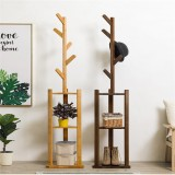 Assembled Solid Wood Coat Rack Hat Coat Hangers Display Floor Standing Rack Hooks Clothes Hanging Bedroom Clothing Organizer