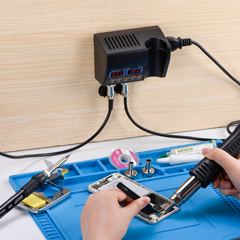 JCD 8898 2 in 1 750W Soldering Station Hot Air Heater LCD Digital Display Soldeirng Iron Welding Rework Station for Cell-phone BGA SMD PCB IC Repair