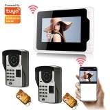 ENNIO 701FD21 7Inch FingerPrint PassLock Wired / Wireless Wifi RFID Password Video Door Phone Doorbell Intercom Entry System with 1080P Wired Camera Night Vision