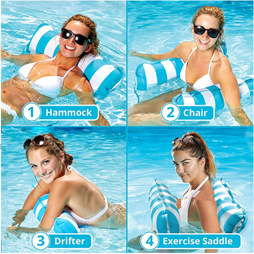 Foldable Summer Water Hammock Recliner Inflatable Floating Air Mattress Swimming Pool Water Sports Lounge Bed with Pump