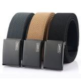 ENNIU 110CM Metal Press Buckle Belt Men's Tactical Belt,Leisure Breathable Canvas Waist Belt