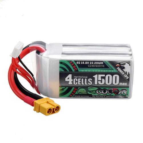 CODDAR 14.8V 1500mAh 4S 110C High Discharge Lipo Battery XT60 Plug for Eachine Wizard X220S FPV Racer RC Drone