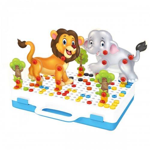 198PCS DIY Drilling Screw 3D Cartoon Animals Electric Drill Assemble Creative Puzzle Toys Set