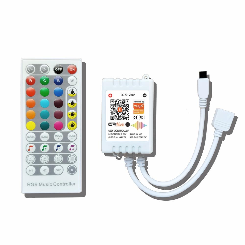 WiFi Smart Tuya APP Music Voice RGB LED Strip Controller+40Keys Remote Control Support Alexa Google Home 5-24V
