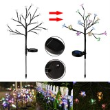 Solar Powered Cherry Flower LED Lawn Light Outdoor Colorful Branch Yard Landscape Lamp Garden Decor