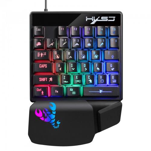 HXSJ V400 Wired Gaming Keyboard 35 Keys One Hand RGB Lighting Gaming Keyboard For PC Laptop Smatrphone Gaming