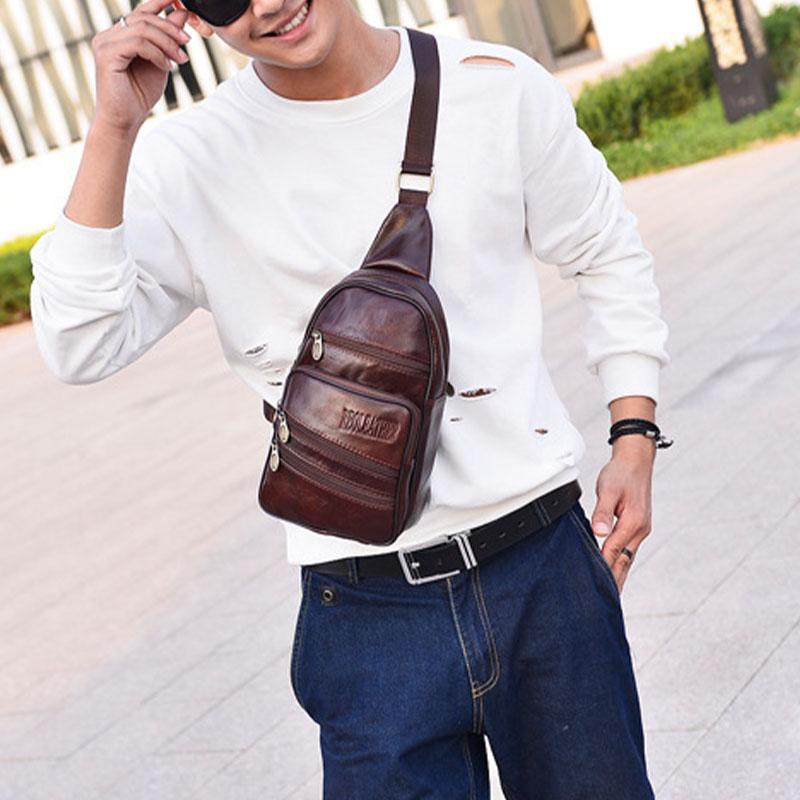 Men Genuine Leather Fashion Retro Casual Large Capacity Leather Shoulder Bag Chest Bag