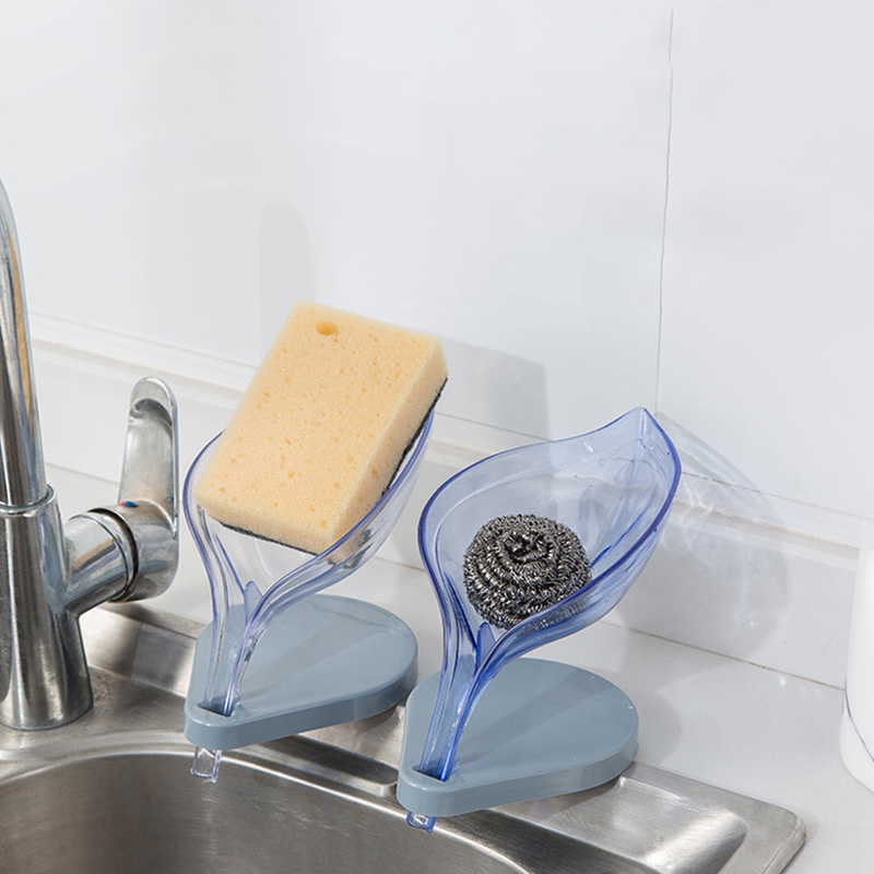 Creative Leaf Soap Box Perforated Suction Cup Soap Box Holder Toilet Drain Laundry Soap Box Rack
